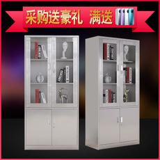 不锈钢304器械柜文件储物柜玻璃门药品柜带锁员工储物柜器械柜